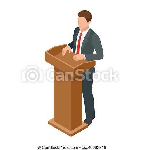 conférence, illustration., business, donner, présentation, vecteur, tribune, orateur, setting., réunion, ou, parler, homme - csp40082216