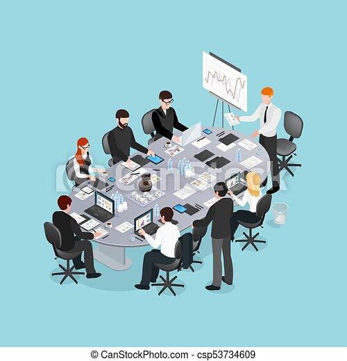 conférence, isométrique, conception, bureau - csp53734609