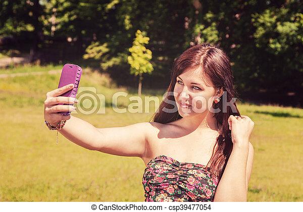confection, selfie, parc, jeune fille - csp39477054