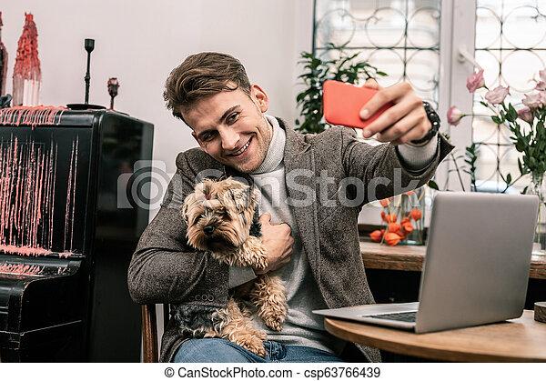 confection, selfie, sien, chien, homme - csp63766439