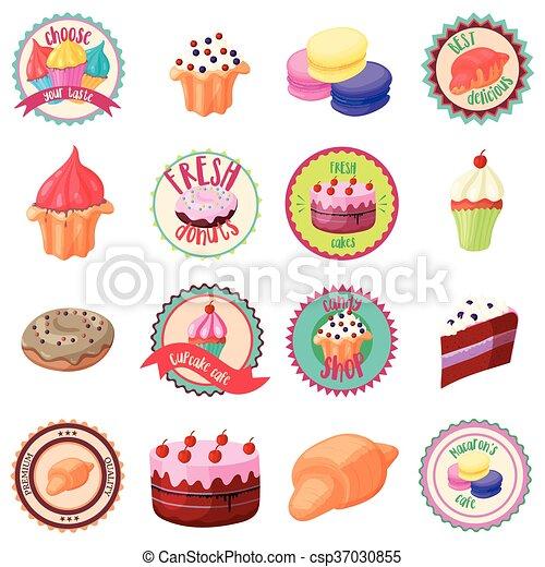 Confectionery icons set, cartoon style - csp37030855