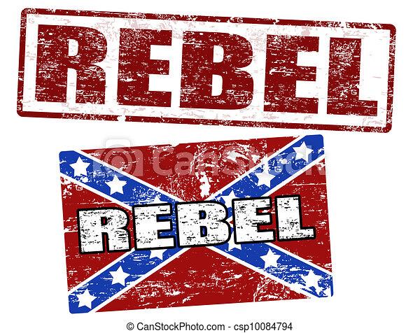 Confederate flag and rebel stamp - csp10084794