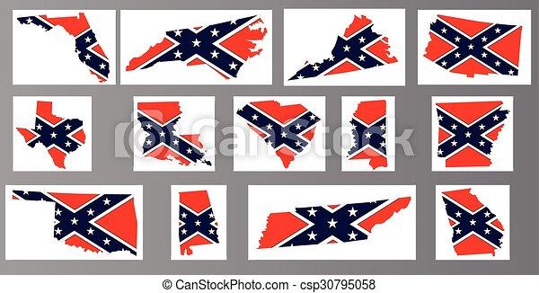 Confederate Flag Maps - csp30795058