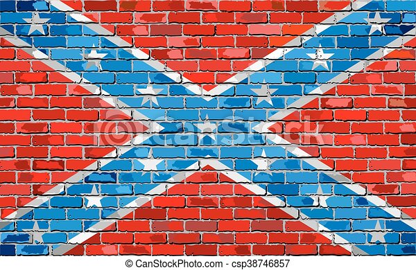 Confederate flag on a brick wall - csp38746857