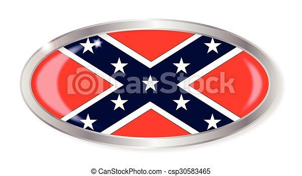 Confederate Flag Oval Button - csp30583465
