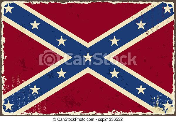 Confederate grunge flag. Vector illustration - csp21336532