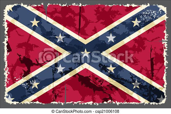 Confederate grunge flag. Vector illustration - csp21006108