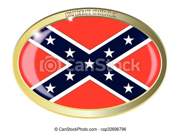 Confederate States Flag Oval Button - csp32696796