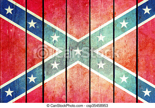 Confederate wooden grunge flag. - csp35458953