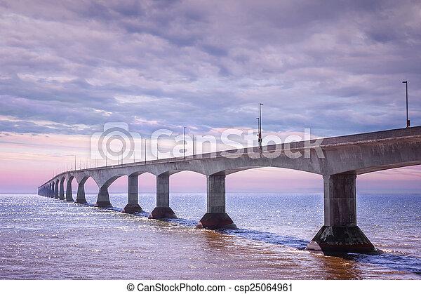 Confederation Bridge sunset, PEI Canada - csp25064961