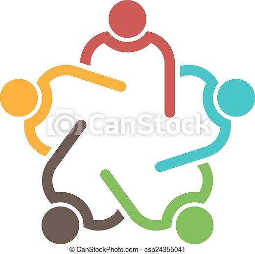 conferência, 5, pessoas., grupo, trabalho equipe - csp24355041