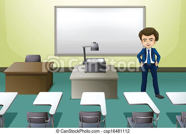 conferência, dentro, sala, homem - csp16481112