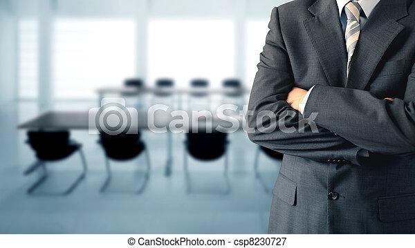 conferência, homem negócios, sala - csp8230727