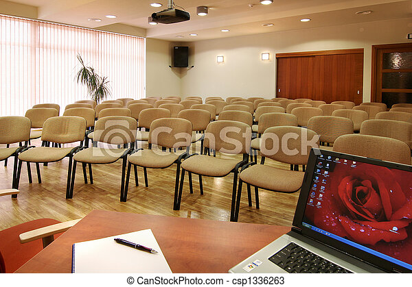 Conference hall in hotel with many chairs - csp1336263