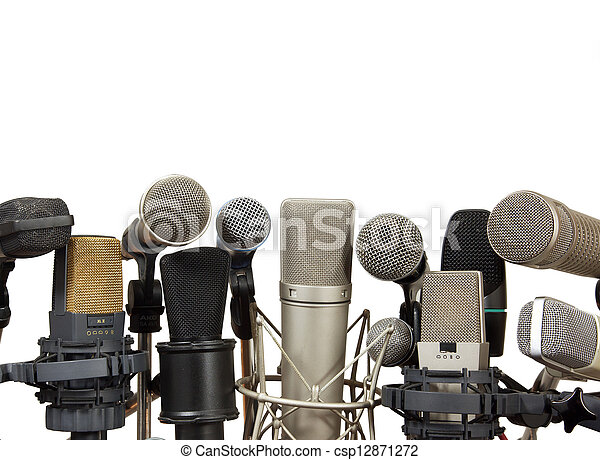 Conference meeting microphones on white background - csp12871272