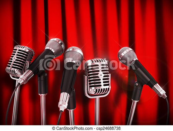 Conference meeting microphones prepared for talker over Red Curt - csp24688738