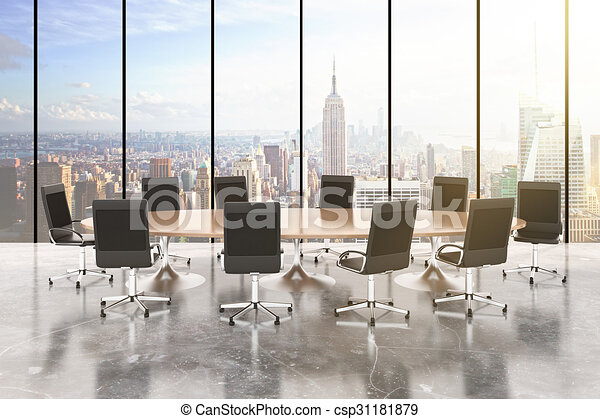 Stock Illustrations Of Conference Room With Round Table Chairs - Conference room table and chairs clip art