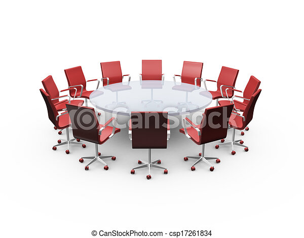 Stock Illustration Of Conference Table And Black Office Chairs - Conference room table and chairs clip art