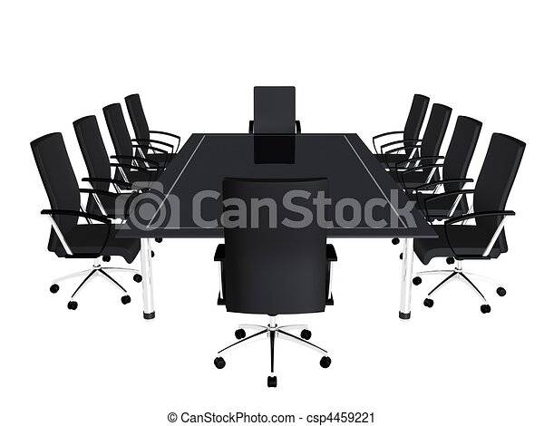 Clipart Of Conference Table D Rendered Illustration Of Black - Conference room table and chairs clip art
