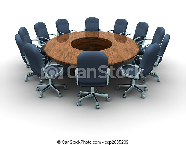 Drawings Of Conference Table A Round Conference Table With - Conference room table and chairs clip art