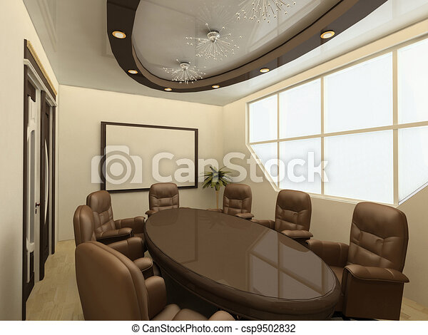 Clip Art Of Conference Table On Modern Office With Big Window - Conference room table and chairs clip art