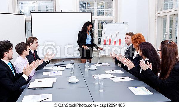 conferenza, addestramento, presentazione, squadra affari - csp12294485