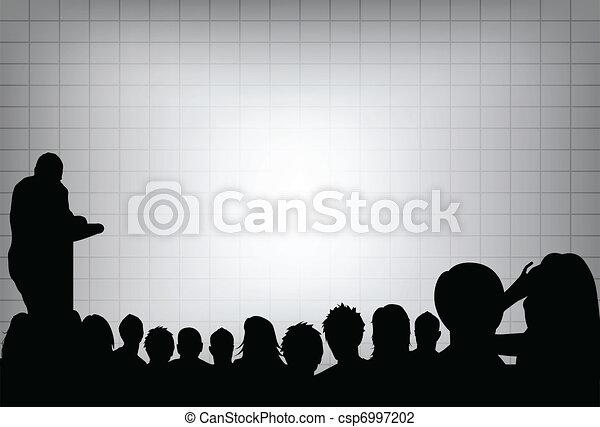 conferenza, audience., o, proiezione, folla, testo, marketing, prodotto, screen., persona affari, aggiungere, vuoto, fronte, copia, presentazione, tuo - csp6997202