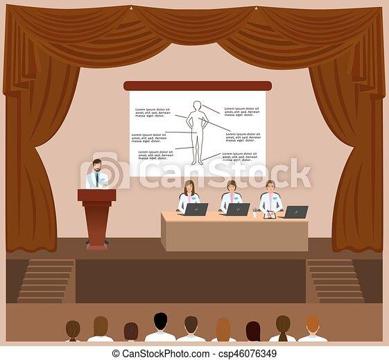 conferenza, montaggio, portavoce, medico, dottori, dietro, him., podio, sessione, ascolto, interior., salone - csp46076349