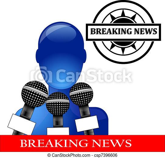conferenza stampa, blu, persona - csp7396606