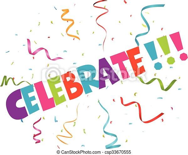 Celebración con confeti colorido - csp33670555