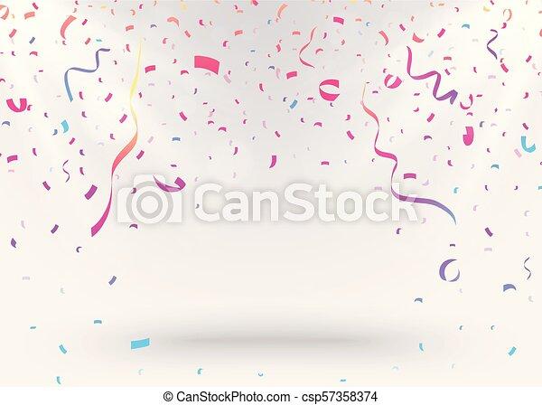 Antecedentes de celebración con confeti colorido - csp57358374
