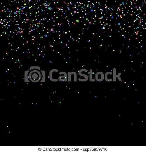 Confeti colorido aislado en el fondo negro - csp35959716
