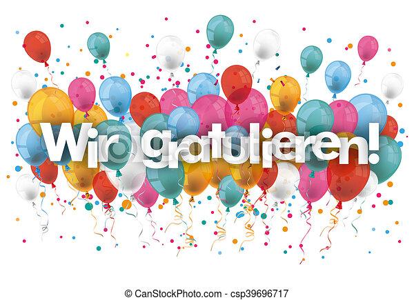 confetti balloons wir gratulieren german text wir gratulieren rh canstockphoto com congrats clipart free congrats clip art free
