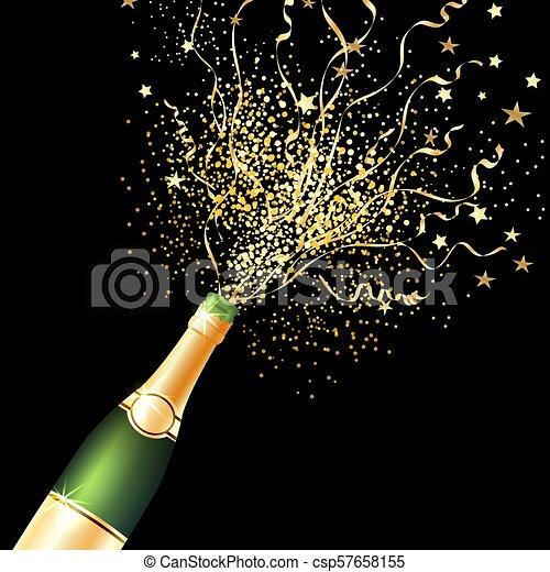Confetti Bottle Champagne Background