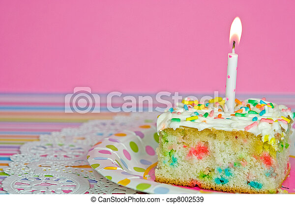 Confetti cake with candle - csp8002539