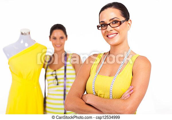 confiado, diseñadores, moda, dos - csp12534999