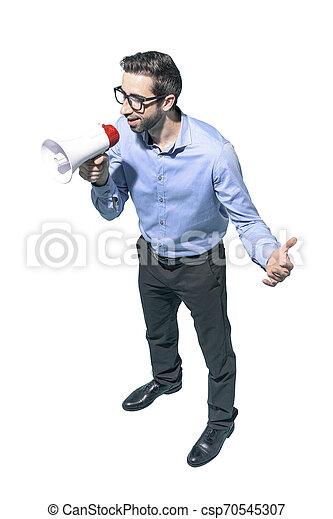 Hombre confiado hablando con un megáfono - csp70545307