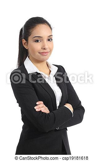 Mujer de negocios feliz posando - csp19181618