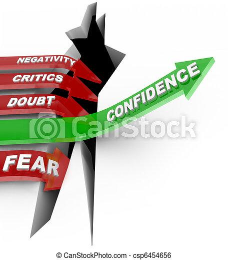 confiance, pas, influenc, négatif, vous-même, croire, écouter - csp6454656