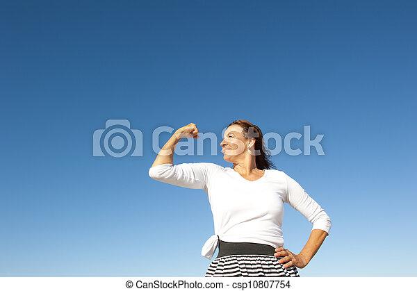 confiant, femme aînée, heureux - csp10807754
