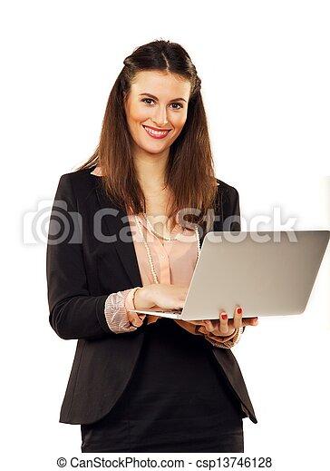 confiant, femme affaires, toile, brouter - csp13746128