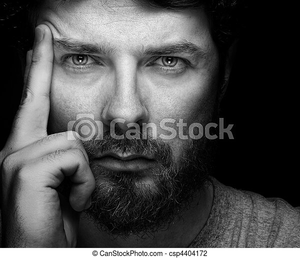 confiant, homme barbu, beau, figure - csp4404172