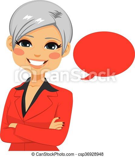 confiant, personne agee, femme affaires - csp36928948