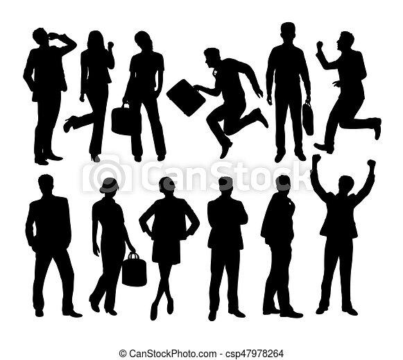 confiant, silhouettes, equipe affaires - csp47978264