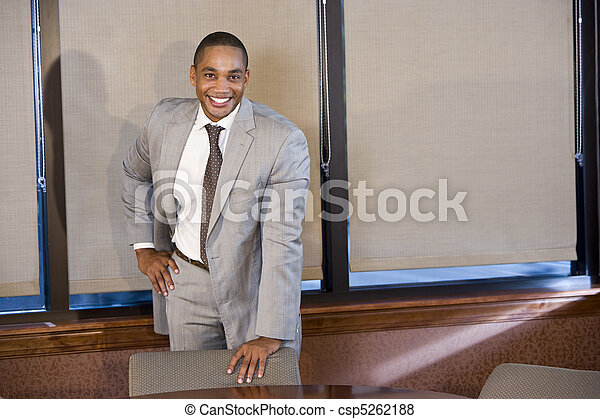 Confident African American businessman in suit - csp5262188