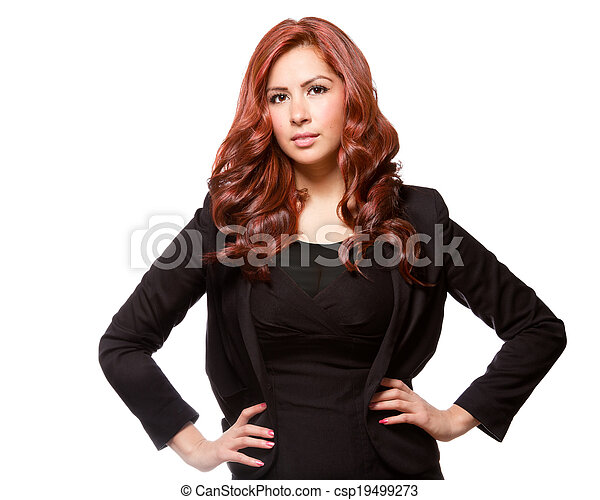Confident business woman in black outfit - csp19499273