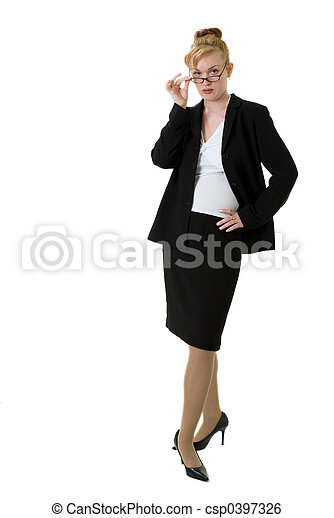 Confident business woman with glasses - csp0397326