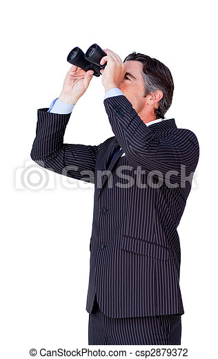 Confident businessman looking through binoculars - csp2879372