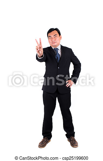 Confident businessman showing 2 fingers isolated on white. - csp25199600