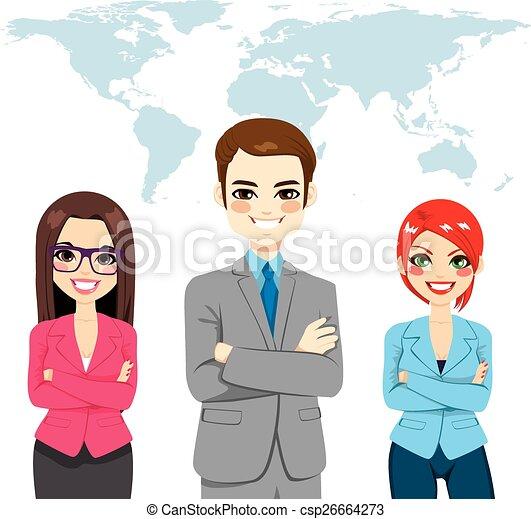 Confident Businesspeople Global Team - csp26664273